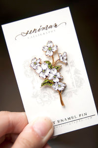 White Dogwood Enamel Pin