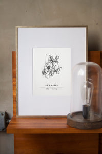 Alabama State Artprints with Camellia Illustration
