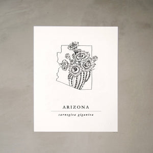 Arizona State Artprints with Saguaro Cactus Illustration