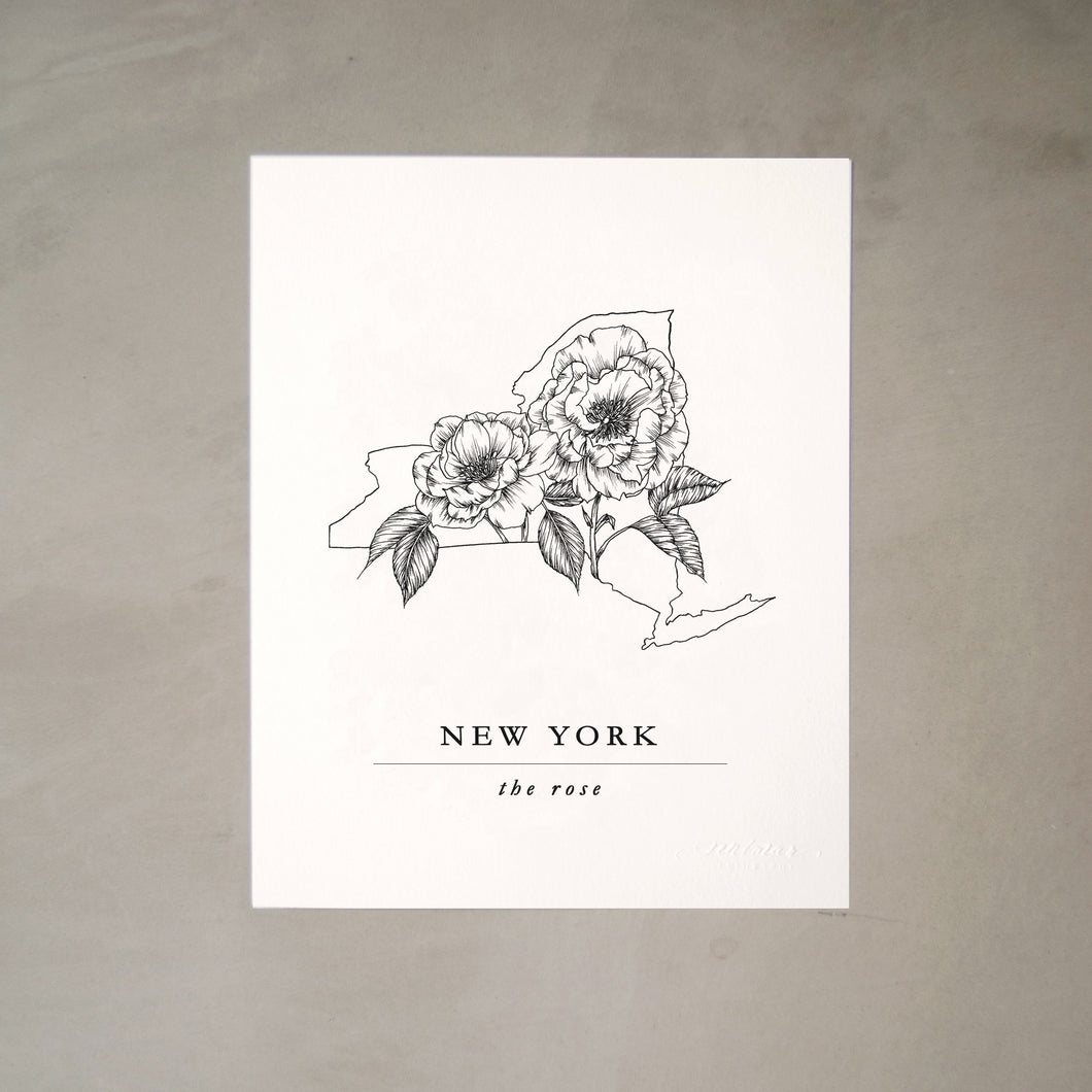 New York State Artprints with Roses Illustration