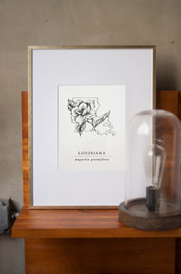 Louisiana State Artprints with Southern Magnolia Illustration