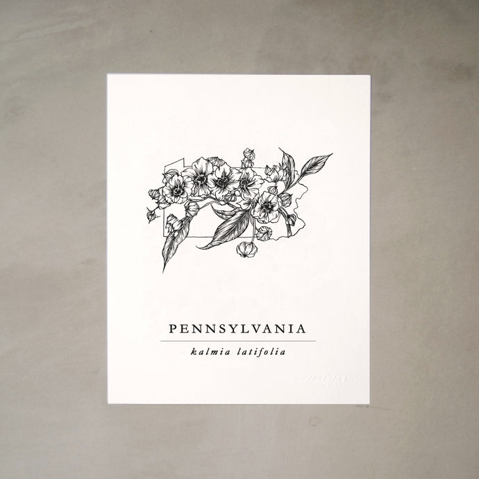 Pennsylvania State Artprints with Mountain Laurel Illustration