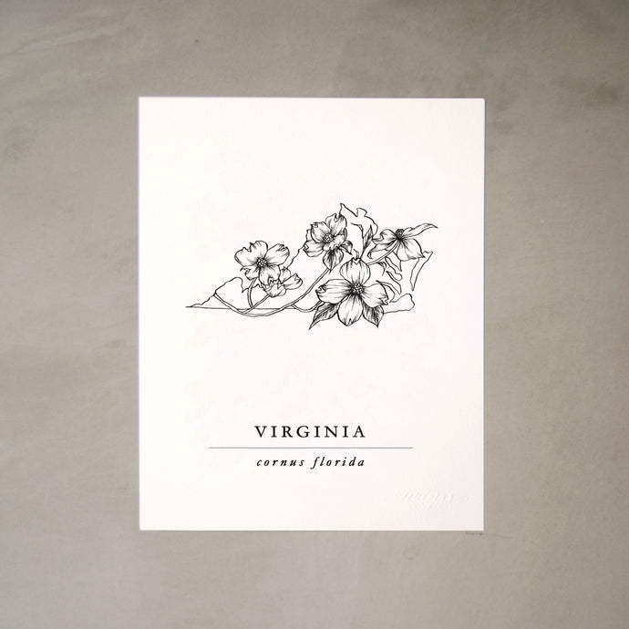 Virginia State Artprints with Mountain Laurel Illustration
