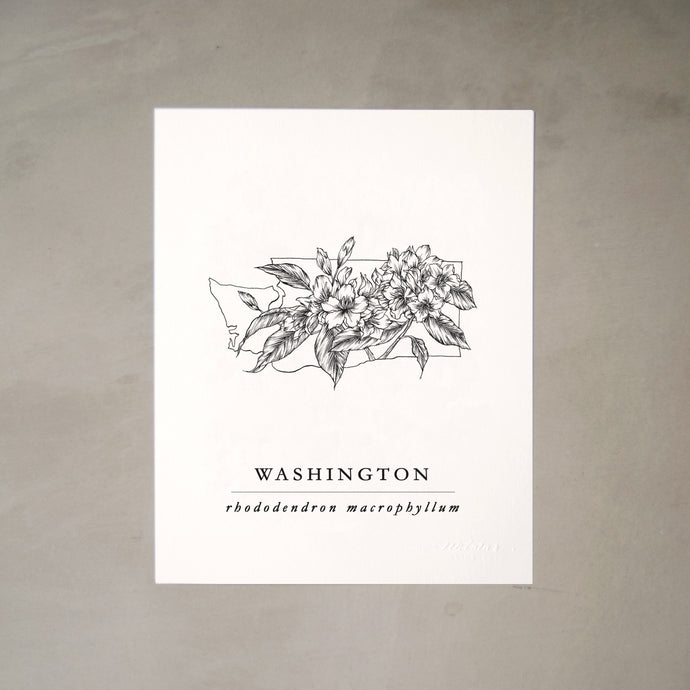 Washington State Artprints with Pacific Rhododendron Illustration