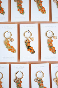 California Poppy Enamel Keychain