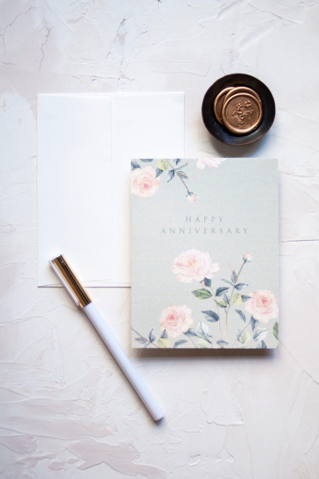 Happy Anniversary Digitally Printed Greeting Card with Rose Watercolor