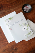 Load image into Gallery viewer, Congrats Card with Anemone Watercolor