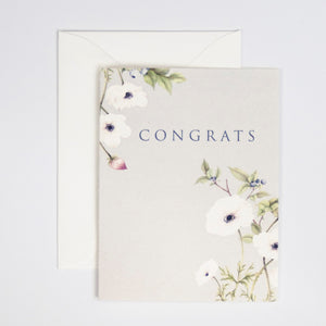 Congrats Card with Anemone Watercolor