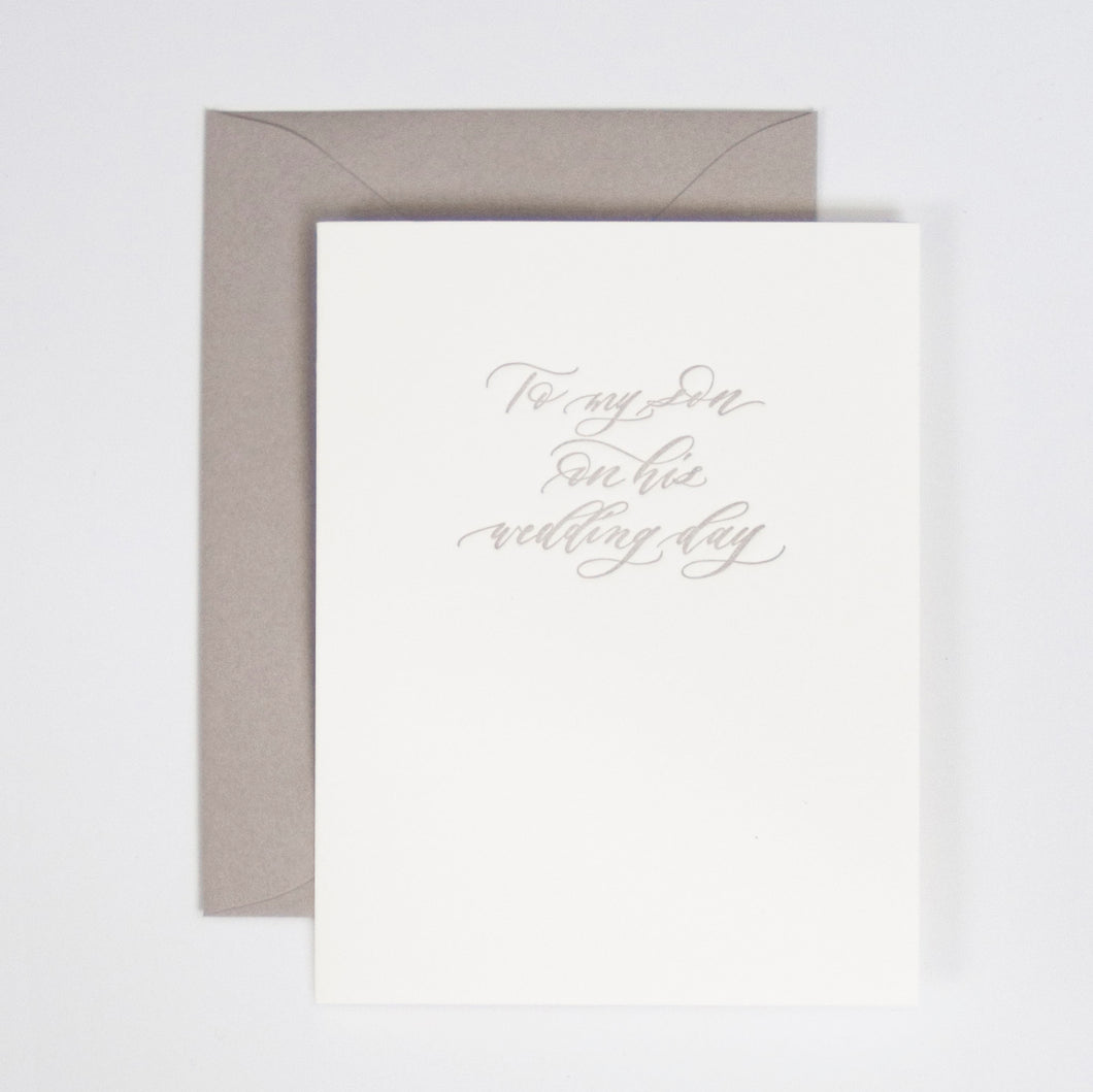 To My Son on His Wedding Day Letterpress Greeting Card