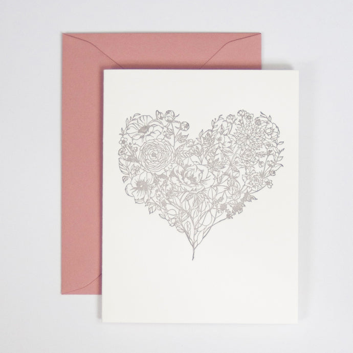 Flower Heart Letterpress Greeting Card