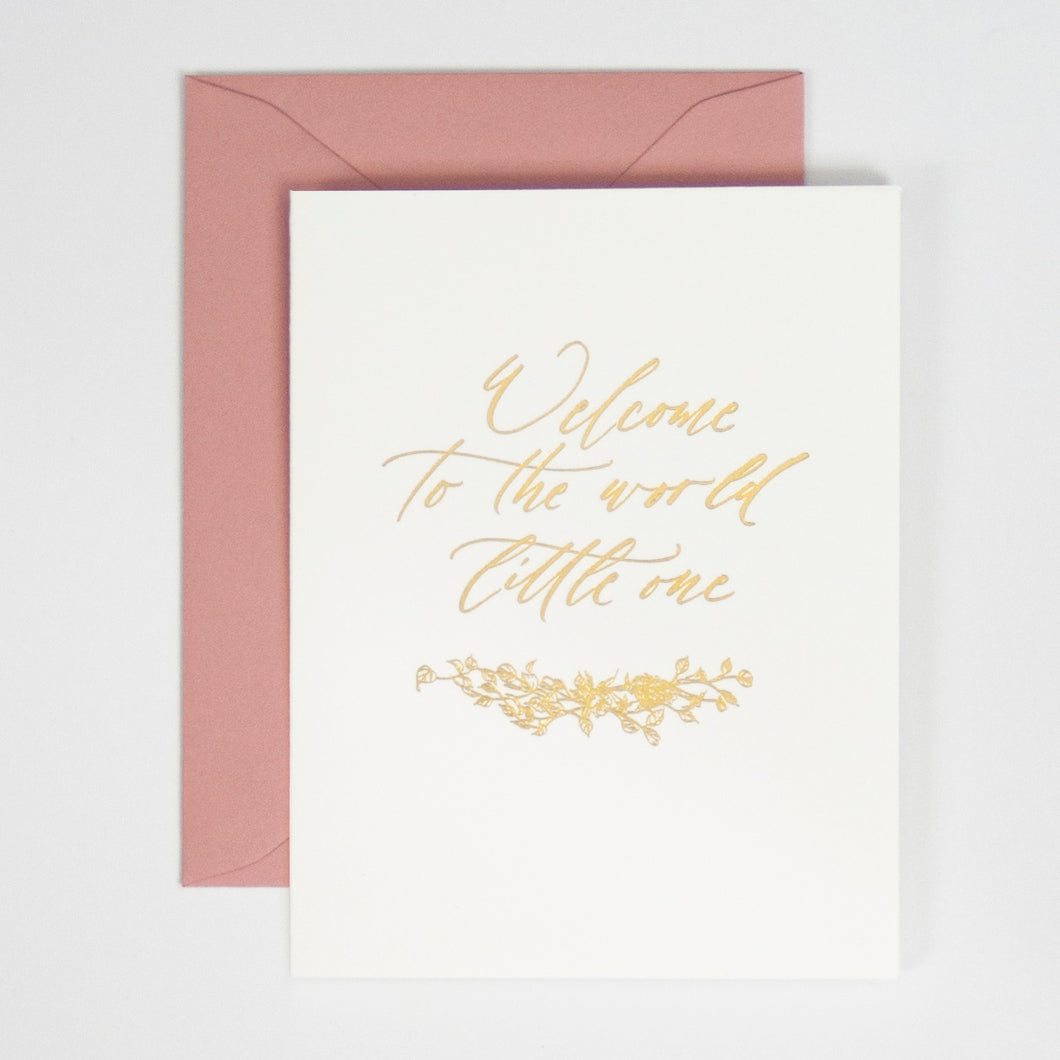 Welcome to the World Foil Press Greeting Card