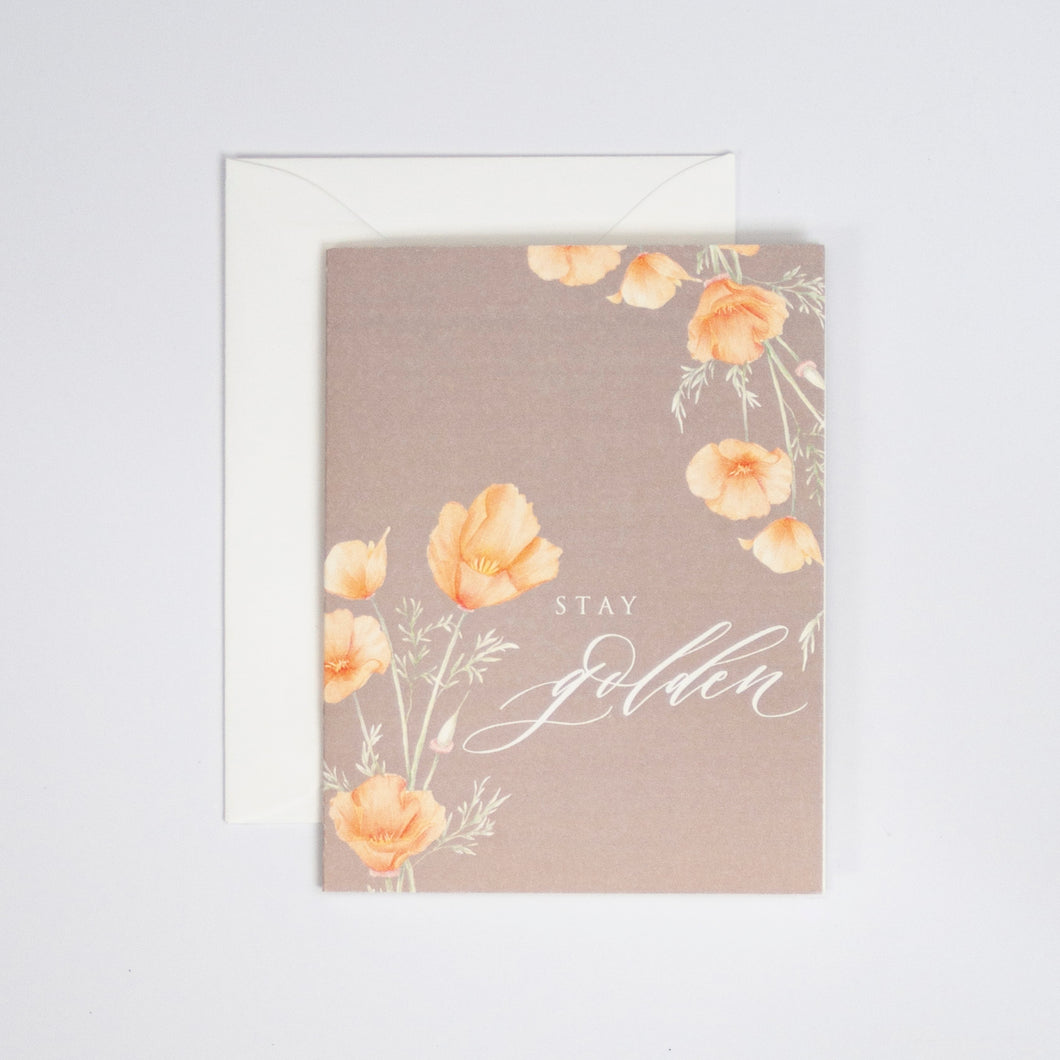 Stay Golden Digitally Printed Greeting Card with California Poppy Watercolor