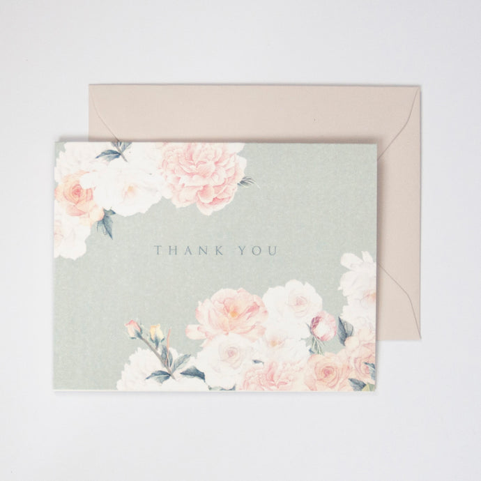 Sage Roses Watercolor Thank You Card