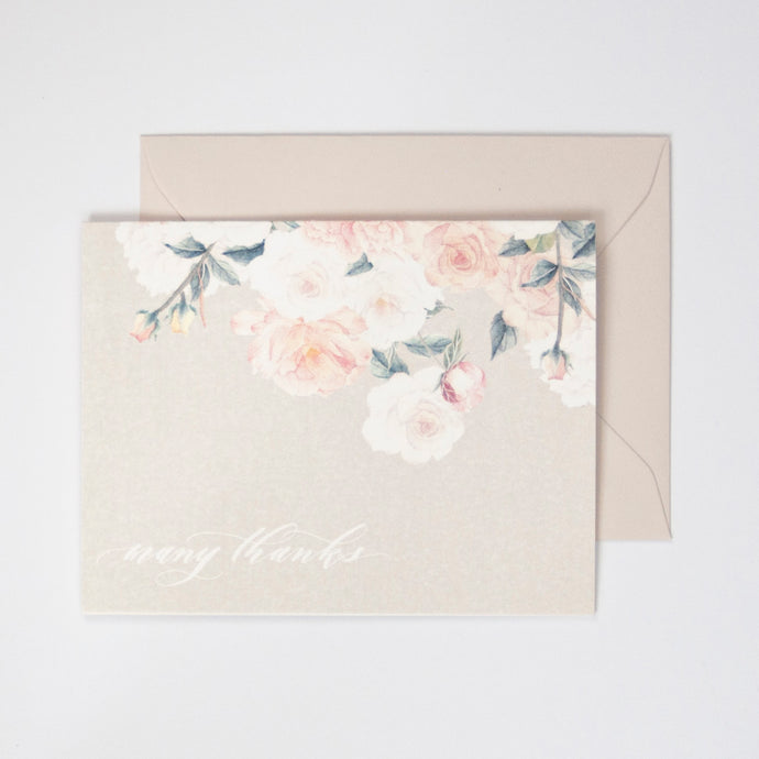 Taupe Roses Watercolor Thank You Card