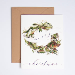 Merry Christmas Digitally Printed Greeting Card with Wreath Watercolor