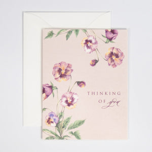 Thinking of You Digitally Printed Greeting Card with Pansies Watercolor