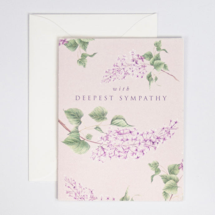 Deepest Sympathy Printed Greeting Card with Lilacs Watercolor