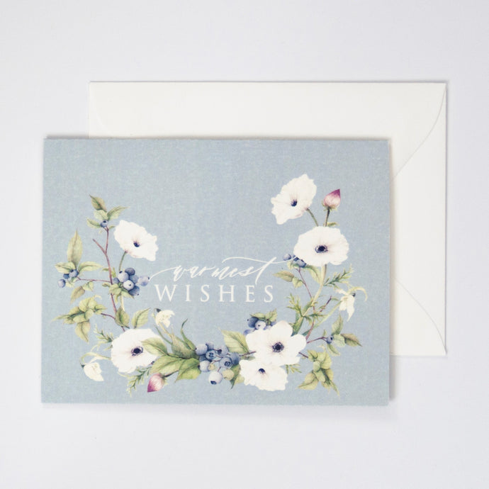 Warmest Wishes Card with Anemone Watercolor