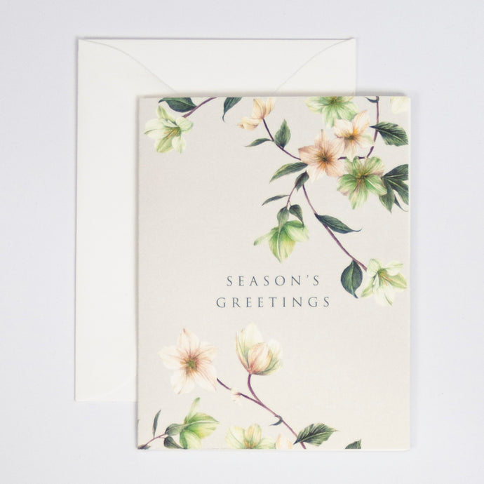 Season's Greeting Digitally Printed Greeting Card with Hellebores Watercolor