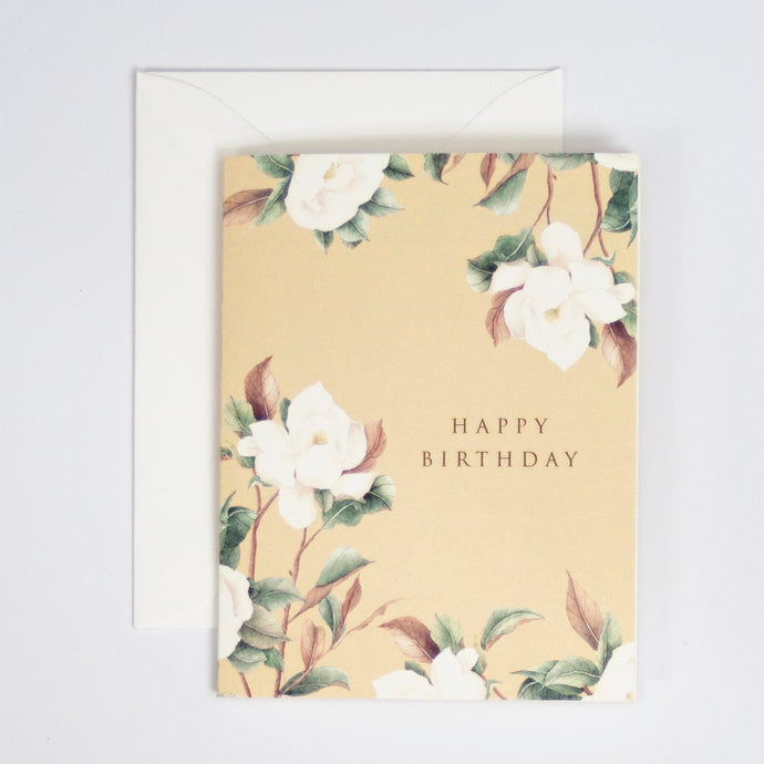 Happy Birthday Card with Magnolia Watercolor