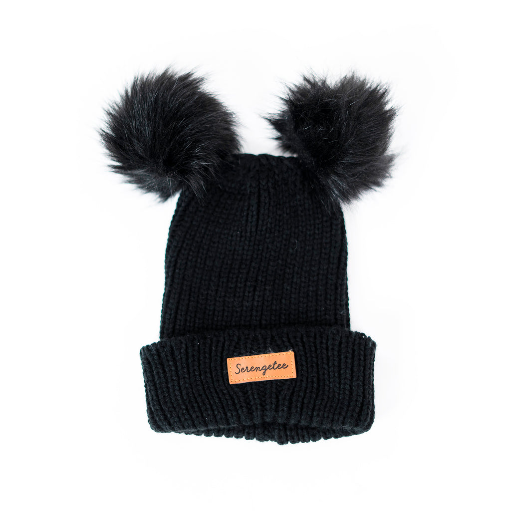 Double Pom Cuffed Sable Beanie