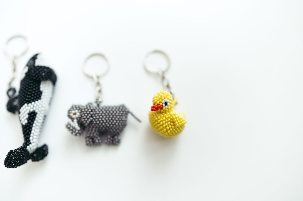 Beaded Rubber Ducky Keychain