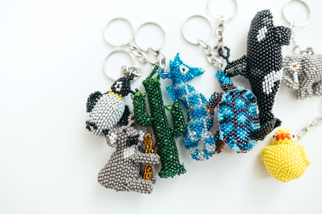 Beaded Turtle Keychain