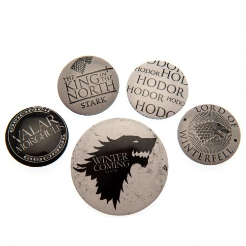 Game Of Thrones Button Badge Set Stark