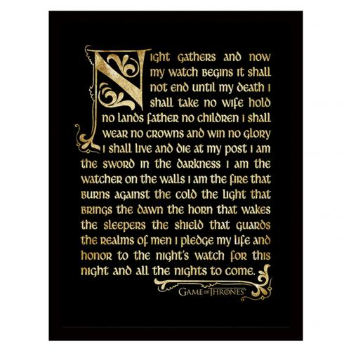 Game Of Thrones Framed Picture Nights Watch 16 x 12