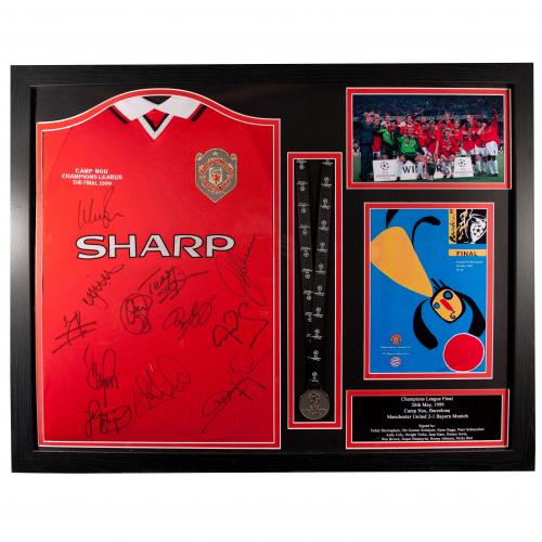 Manchester United FC 1999 Champions League Final Signed Shirt (Framed)