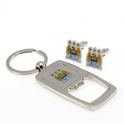 Manchester City FC Cufflinks & Keyring Bottle Opener Set