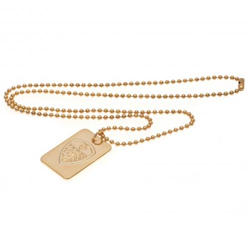 Leeds United FC Gold Plated Dog Tag & Chain