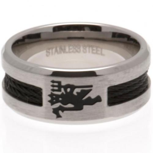 Manchester United FC Black Inlay Ring Small