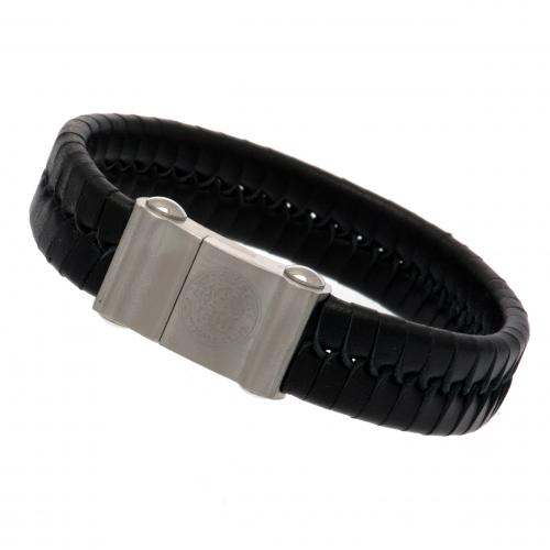 Leicester City FC Single Plait Leather Bracelet
