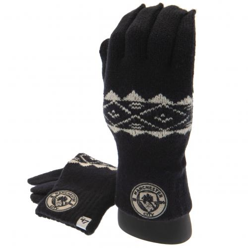 Manchester City FC Knitted Gloves Adult Fairisle