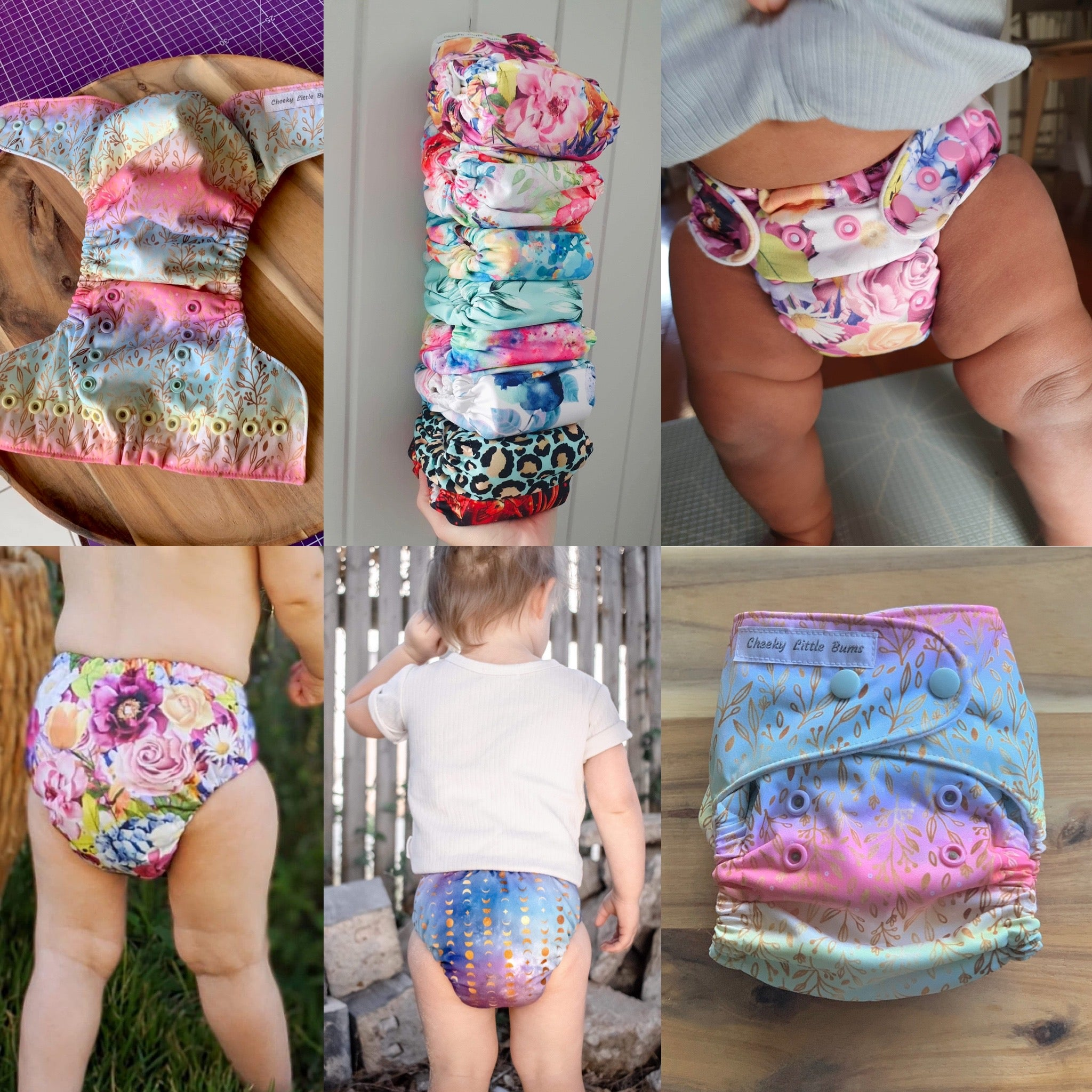 cheeky little bums, one size, osfm, modern cloth nappy, single row, Australian made