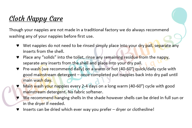 Cloth nappy care, washing routine, guidelines, ccn, clean cloth nappies