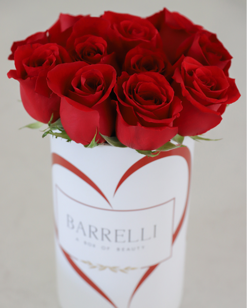 Valentine's Day - Red Roses in Round Box Bouquet