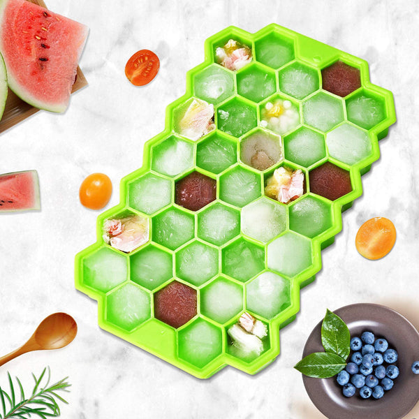 4pcs Honeycomb Silicone Ice Cube Trays with Removable Lids Silica Gel Ice Cube Mold BPA Free