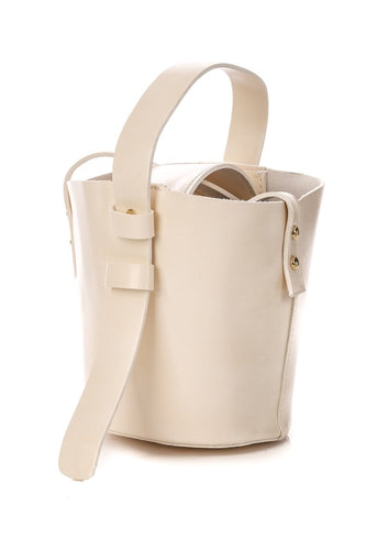 Faux Leather Bucket Strap Bag - Ivory