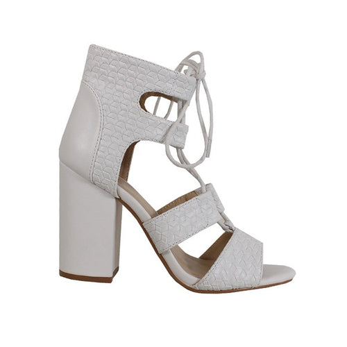 Common Braid Lace Up Heel Sandal - White
