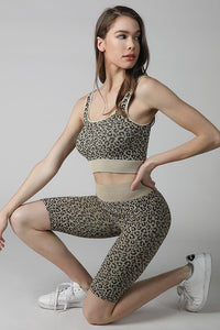 Marleigh Animal Print High Sleeveless Cropped Leopard Bralette + Taupe Band