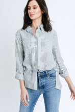 Asher Striped Shirts With Pockets - Black + White