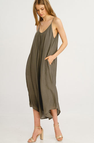 Clementine Woven Spaghetti Strap Jumpsuit with Pockets - 2 Colors