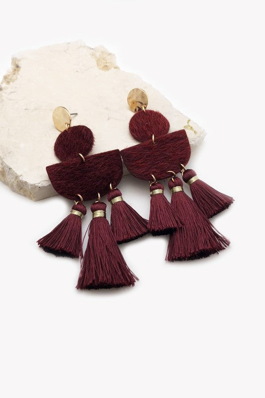 Tassel Chandelier Earrings - Wine