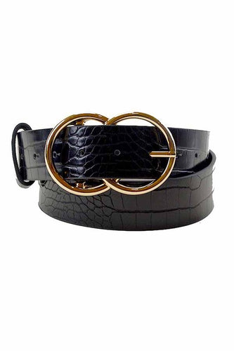 Vegan Leather Belt w Double Gold Ring Buckle - Black