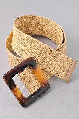 Sunnie Woven Belt w Square Acetate Tortoise Buckle
