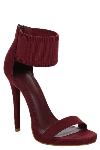 Simple Statement Cuff Ankle Strap Heel - Wine