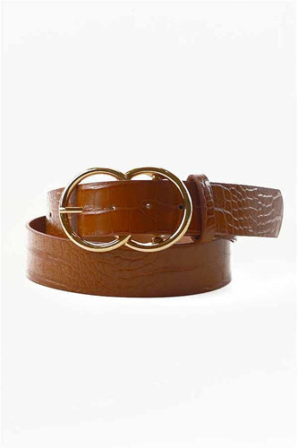 Vegan Leather Belt w Double Gold Ring Buckle - Camel