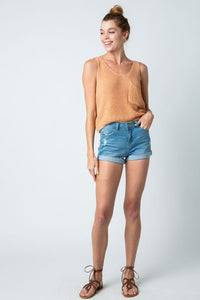 Shell Light Knit Sleeveless Cropped Tank Top w Pocket - Warm Skin